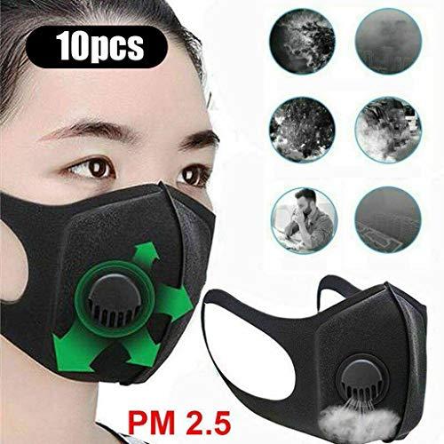 eiuEQIU 10PCS Mundschutz Unisex, Gesichtshaut, Nasenschutz, Mund und Nasenbereich Baumwolle atmungsaktiv wiederverwendbar waschbar, Anti-Verschmutzung, Fahrrad, Motorrad, Sport