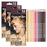 36 Count Colored Pencils Set - 3 Sets Included Each with 12 Skin Tones Colored Pencils Manga Colors Tone Oil Based Drawing Pencils for Adults Coloring Books Drawing Sketching