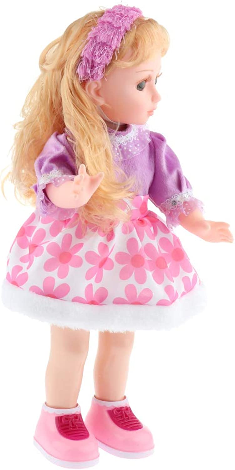 Fityle 17inch Talking Interactive Dancing Storytelling Smart Educational Doll with Dress - G