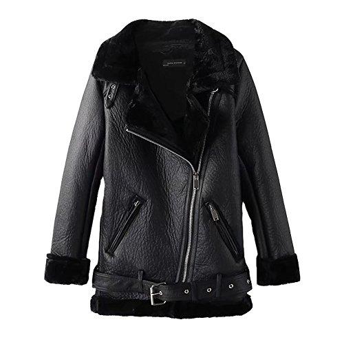 Newbestyle Jacke Damen Übergangsjacken V Ausschnitt Kleidung Mantel Fell Winterjacke Jacket Wintermantel Top Coat mit Schrägem Reißverschluss Schwarz Large
