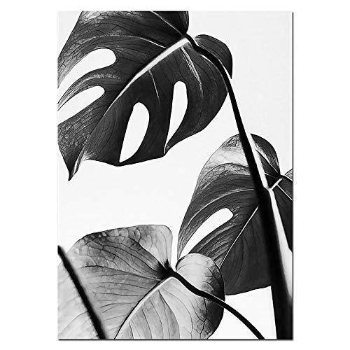 U/N Arte de Pared de Hoja Tropical Estilo Lienzo en Blanco y Negro Citas póster impresión imágenes de Pared para Sala de Estar decoración del hogar-4