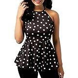 Camisas Sexy Mujer, Blusa Mujer Fiesta Elegante Gasa Moda Mujer O-Cuello Casual Punto de impresión Blusa de Gasa con Volantes Tops Camisa Chaleco Camisetas sin Mangas (Negro, XL)