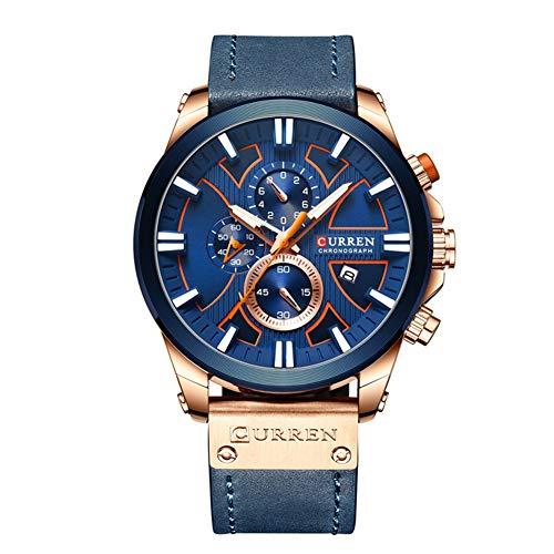 Curren Reloj de pulsera para hombre con tres subesferas de fecha, correa de cuero analógico casual reloj de cuarzo azul 8346