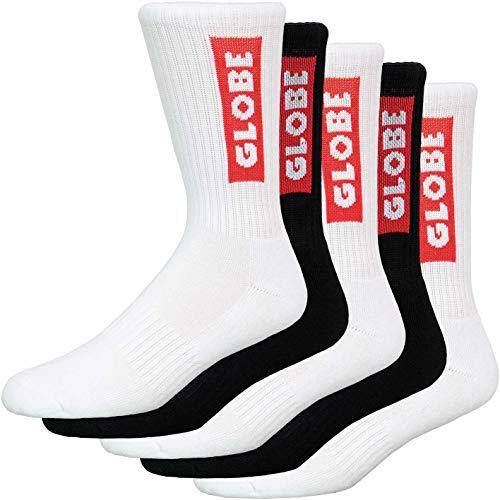 Globe Bar Crew 5er Pack Socken (40-45, blk/wht)