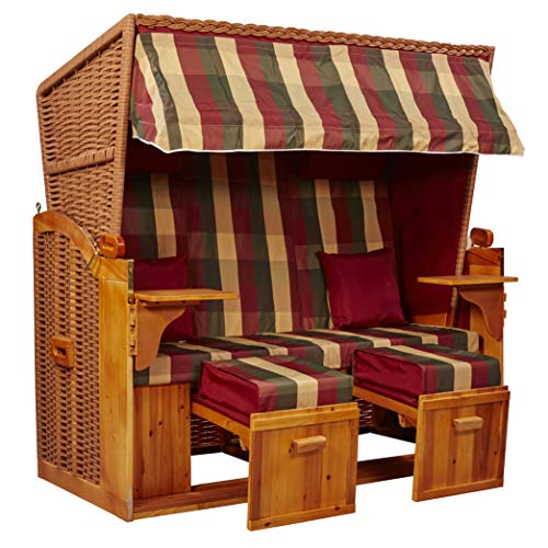 intergrill Strandschönheiten Joan Ostsee XXL Strandkorb 2,5-Sitzer Verschiedene Dekor Terrassen Wintergärten Garten inkl Schutzhülle