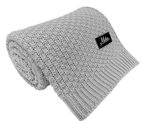 Baby Strickdecke Kuschelige Decke ideal als Baby Decke, Erstlingsdecke, Wolldecke oder Baby Kuscheldecke 80x100 I 100x120 (1033) (Grau, 80x100)