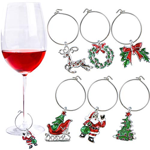 Tatuo 6 Pieces Christmas Glass Charms Theme Party Wine Glass Tags Christmas Wine Rings for Goblet Drink Marker, 6 Styles