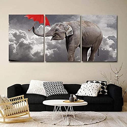 QWASD Cuadro sobre Lienzo 3 Piezas Elefante con Paraguas Rojo Animal Cuadros En Lienzo 3 Hojas Pintura De Arte De Pared Modular De 3 Piezas De La Sala Dormitorio De Estar-50X70Cmx3 Piezas