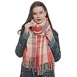Bufanda de invierno a cuadros grande Oversize para mujers suave y cálida escocesa escocés 185 x 65 cm salmón - crema