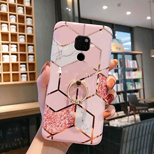 Huawei Mate 20 Hülle Handyhülle Marmor Muster Glänzend Glitzer Bling Weich Silikon Hülle Kratzfest Schutzhülle Tasche Crystal Case Ring Halter Ständer,Rose Gold