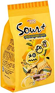 2-Pack/Malaysia Brand/Lot 100 Sour + / Mango Flavored Gummy/Soft Chewy Fruit Flavored Candy/Refreshingly Sour/Sweet Flavor With Tart Edge / 100g/pack