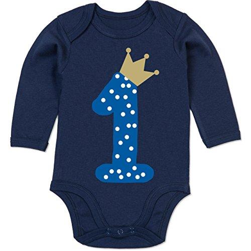 Shirtracer Geburtstag Baby - 1. Geburtstag Krone Junge Erster - 12/18 Monate - Navy Blau - geburtstagskrone 1 - BZ30 - Baby Body Langarm