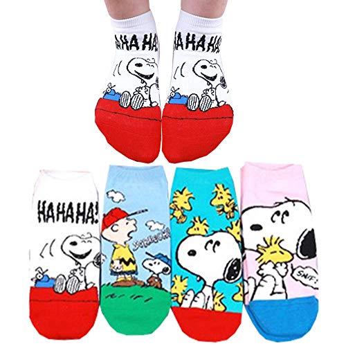 Die Peanuts Comics Charakter Sneakersocken Knöchel Socken 4 Paaren - Charlie Brown, Snoopy, Woodstock