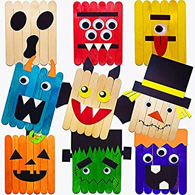 Halloween Crafts Kits for Kids - Unfinished Arts and Crafts Supplies for Halloween Toys Gifts, 9 Packs DIY Kids' Wood Craft Kits for Home School Classroom Halloween Activities from Porgaten