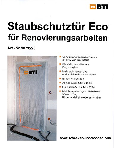 BTI Staubschutz (Staubschutztür, Bautür, Staubtür mit Reißverschluss m. Vlies Waschbar u. Wiederverwendbar), 110x220 cm