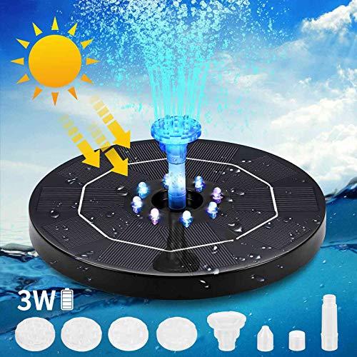 Prenine Fuente solar de 3 W con luz LED, batería de 3000 mAh, bomba de agua, flotante y 6 tipos de boquillas, para estanque de jardín o fuente, pájaro, baño, pescado