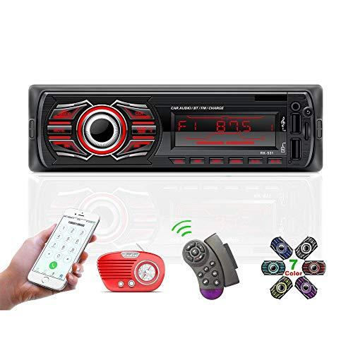 Radio Coche, 12V Universal Radio para el Coche 1 DIN Bluetooth Llamadas Manos Libres, TOYOUSONIC Autoradio Reproductor MP3 Radio FM Doble USB Carga Rapida/AUX/SD con Control Remoto del Volante.