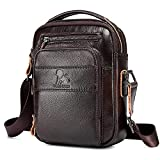 BAIGIO Schultertasche Herren Umhängetasche Klein Leder Herrentasche Vintage Crossbody Messenger Bag für Arbeit Reise Alltagsleben (Dunkelbraun)