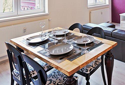 Ebanisteria Gambella - Mesa de comedor con tapa de cristal