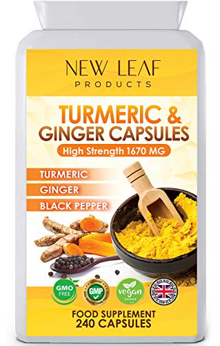 Turmeric And Black Pepper Capsules High Strength Infused With Ginger Tumeric Supplements - 240 Small Turmeric Capsules Curcumin Vegan GMO-Free Gluten-Free, GMP - UK Made (Not Tablets) 4 Months Supply