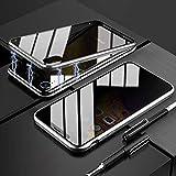 TENGMAO Funda de absorción magnética para Samsung Galaxy s8, Transparente 360 Vidrio Templado Carcasa Protectora con Marco metálico Compatible con Privacidad, Anti-Espionaje