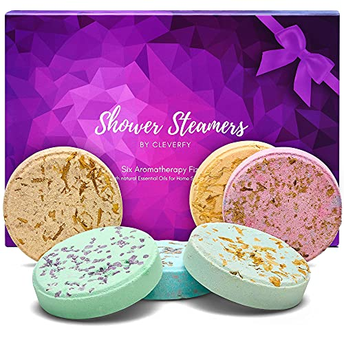 Cleverfy Aromatherapy Shower Steamers - Variety Pack of 6 Shower Bombs with Essential Oils. Purple Set: Lavender, Watermelon, Grapefruit, Menthol & Eucalyptus, Vanilla & Sweet Orange, Peppermint