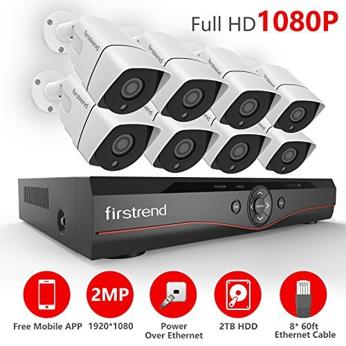 [Newest] Firstrend 8CH POE NVR Security Camera System with 8X 1080P HD Security Camera