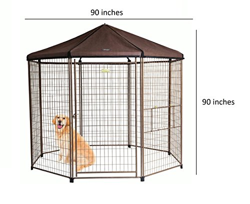 Advantek Pet Gazebo Outdoor Metal Dog Kennel with Reversible Cover, 8 Foot