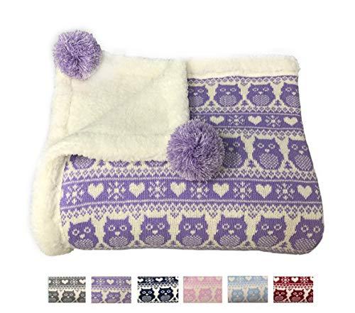 """effe bebe Snow Owl Cotton Knit Sherpa Baby Blanket 30""""x40"""" (Light Purple)"""
