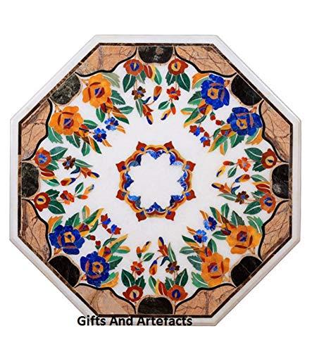 Gifts and Artefakte handgefertigter Marmor-Couchtisch Pietra Dura Art mit Edelsteinen Geometrische Kunst kann als Terrassensofa Beistelltisch verwendet Werden, 61 cm achteckig