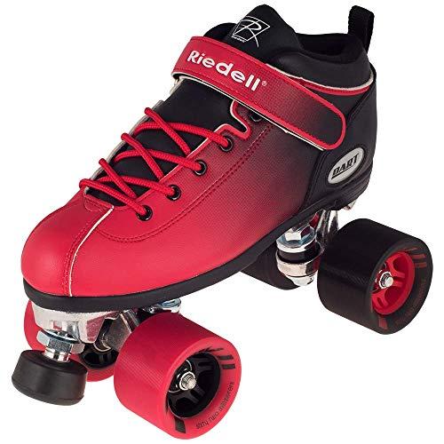 Riedell Skates - Dart Ombré - Quad Roller Speed Skate   Black & Red   Size 6