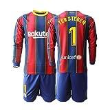 T-Shirt Set Fußball 2020-2021 Replica for Fußballfan Torwarttrikot 2020#1 TER Stegen Trikot Und Hose Geeignet Für Erwachsene Und Kinder
