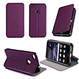 XEPTIO Etui Huawei P8 Lite 2017 4G Dual Sim Violet Ultra Slim Cuir Style avec Stand - Housse Coque de Protection Huawei P8...