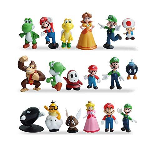 Super Mario Action Figures Toys 18 Pcs 1.42'~2.68' Super Mario-Luigi-Yoshi-Peach Princess-Daisy Princess etc. Perfect Super Mario Cake Topper Decorations