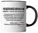 Feuerwehrmann Tasse - Wikipedia Spruch Motto Motiv Berufe Geschenk für Feuerwehr - beidseitig Bedruckt - Geschenk Idee Kaffeetassen mit Spruch, Tassenfarbe:Weiß/Schwarz