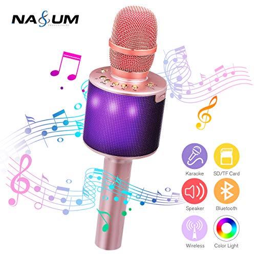 bluetooth Karaoke Mikrofon, NASUM, tragbares KTV Effektmikrofon, 5WLautsprecher, mehrfarbige LED Beleuchtung, Party, Podcast, Familie, Kompatibel mit Android / IOS