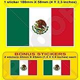 MEXICO Mexican Flag 4' (100mm) Vinyl Bumper Sticker, Decal x1 +2 BONUS