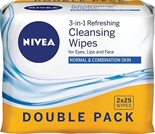 NIVEA Daily Essentials 3 in 1 Refreshing Cleansing Wipes for Eyes, Lips & Face. Enriched with Vitamin E for Normal & Combination Skin, 50 count