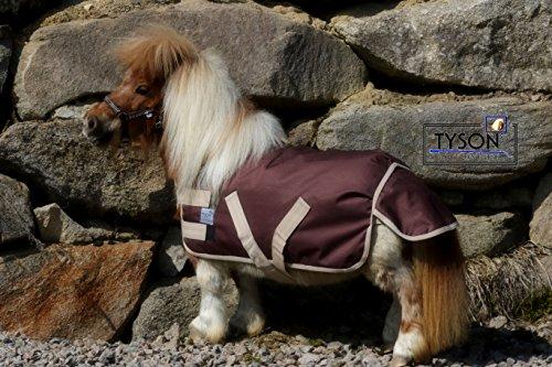Tysons Breeches Regendecke Klett Minipony Shetty Minishetty Braun/Beige 600 D nur Klett Outdoordecke Ponydecke 60 65 70 75 80 85 90 95 100 cm (90)