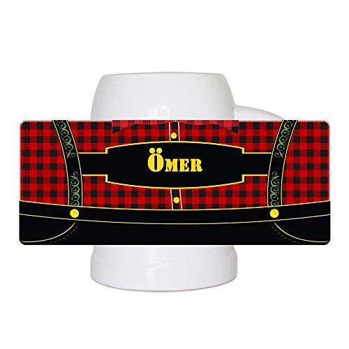 Bierkrug mit bayerischem Lederhosen-Motiv und Namen Ömer personalisiert | Bier-Humpen | Bier-Seidel