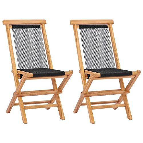 vidaXL 2X Teak Massiv Gartenstuhl ohne Armlehnen Klappbar Klappstuhl Stuhl Stühle Holzstuhl Gartenstühle Klappstühle Gartenmöbel Seil