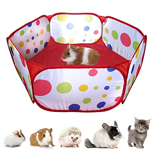 RYPET Guinea Pig Foldable Playpen - Portable Small Animals Playpen Pop Open Outdoor/Indoor Exercise Fence for Guinea Pig, Hedgehogs, Hamster, Chinchillas and Rabbits