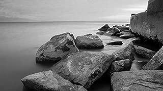 YYAYA.DS Chicago Hyde park Michigan shore sunrise sea - Art Print Silk Fabric Cloth Wall Poster Print 24x13 Inches Black and White