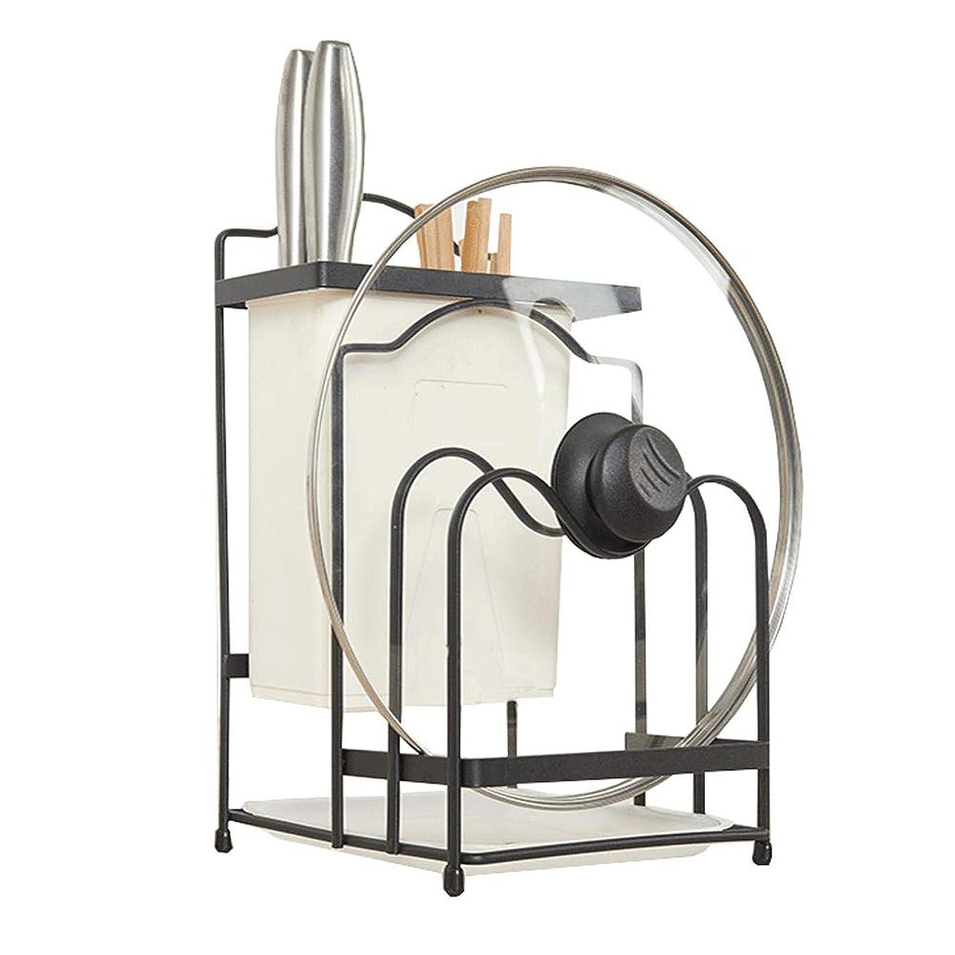 粘着性ベンチャー軽引き出し用 鍋ふたスタンド 多機能まな板ホルダーキッチンカウンターパンラックホルダーラック キッチン収納に最適 (Color : Black, Size : 18.5×22.5×32.5cm)