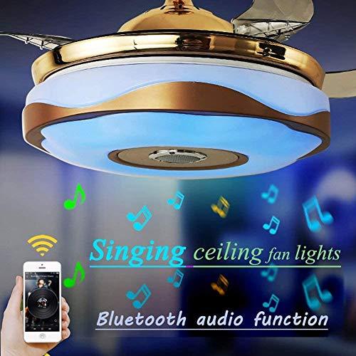 LBYLYH Moderner Faltbarer RGB-Lüfter-Kronleuchter Mit Bluetooth-Fernbedienung Musik-Player-Lautsprecher Stealth-Deckenventilator-Leuchte Geeignet Für Esszimmer