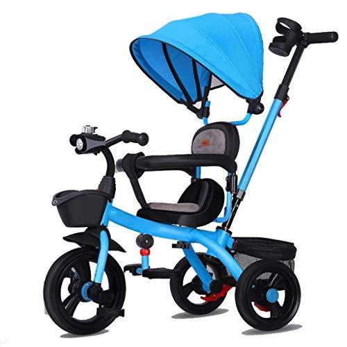 CAIMEI Triciclo infantil, 3 ruedas, asa para silla de ruedas, pedal, niño guiado con música, baldaquino desmontable y asiento reversible, 8 meses - 6 años de edad (color blanco), azul