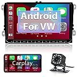 Hikity Android Carplay Radio de Coche 2 DIN para VW Golf Passat Seat Skoda Navegación GPS Bluetooth FM Autoradio 9 Pulgadas Pantalla táctil con Enlace Espejo WiFi USB + Canbus + Cámara visión Trasera