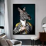 Pintura sin Marco Elegante Blanco y Negro león Tigre Elefante Jirafa Lobo Caballo Arte de la Pared póster y Animales sobre Lienzo ZGQ2712 30X40cm