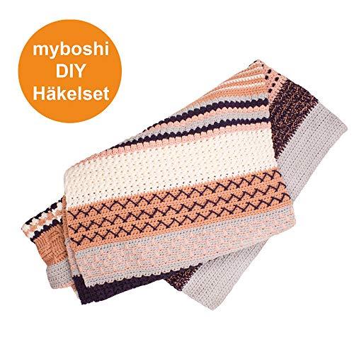 myboshi Häkel-Set Decke Nagato | aus No.1 | Anleitung + Wolle | mit Häkelnadel | Decken-Häkel-Set | Silber Pflaume Rose Puder Weiss