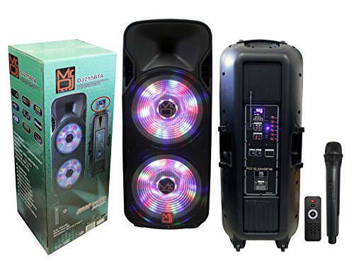 Mr. Dj DJ215BTA/AFTER Party Dual 15' 5000 Watt Max Power Speaker with Built-in Bluetooth & Battery LCD/MP3/USB/SD Slot (DJ215BTA)